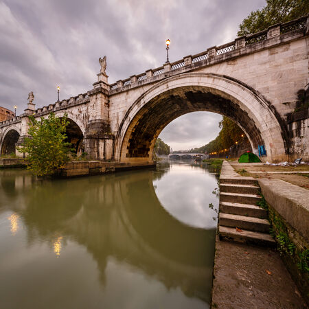 tevere: Under the Holy Angel Bridge in the Morning, Rome, Italy
