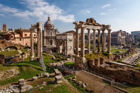 Roman Forum  Foro Romano  and Ruins of Septimius Severus Arch and Saturn Temple in Rome, Italy