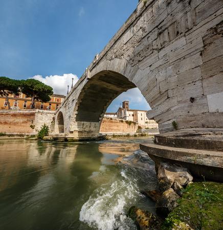 tiber: Panorama of Tiber Island and Cestius Bridge over Tiber River, Rome, Italy