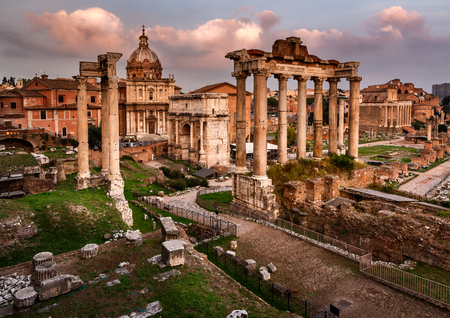 lazio: Roman Forum  Foro Romano  and Ruins of Septimius Severus Arch and Saturn Temple at Sunset, Rome, Italy