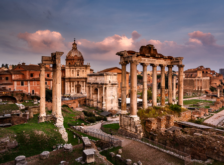 severus: Roman Forum  Foro Romano  and Ruins of Septimius Severus Arch and Saturn Temple at Sunset, Rome, Italy