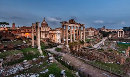 severus: Panorama of Roman Forum  Foro Romano  in the Evening, Rome, Italy Stock Photo