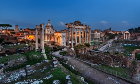 Panorama of Roman Forum  Foro Romano  in the Evening, Rome, Italy photo