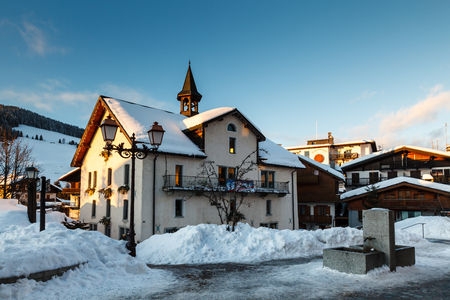 Evening in the Village of Megeve in French Alps, France photo