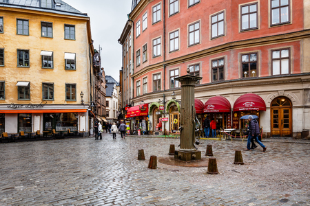 old town square: Romantic Cafe on Jarntorget Square in Stockholm Old Town  Galma Stan , Sweden