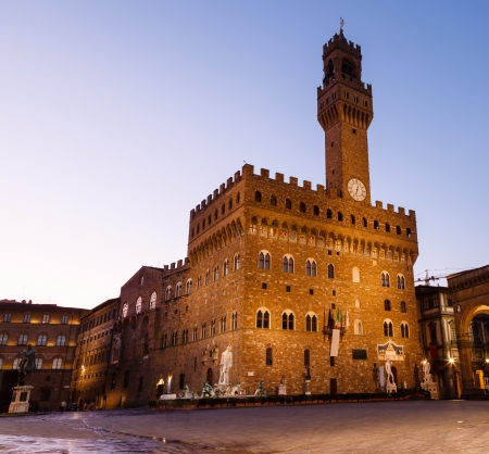 piazza: The Palazzo Vecchio  Old Palace  a Massive Romanesque Fortress Palace, is the Town Hall of Florence, Italy Stock Photo