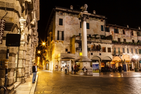 Saint Mark Column and Piazza delle Erbe at Night, Verona, Veneto, Italy