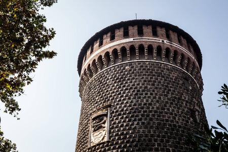sforza: The Outer Wall of Castello Sforzesco  Sforza Castle  in Milan, Italy