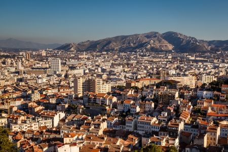 Aerial View of Marseille City and Mountains in Background, France photo