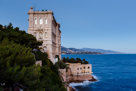 oceanographic: View of Oceanographic Museum of Monaco  Monte Carlo, France Stock Photo