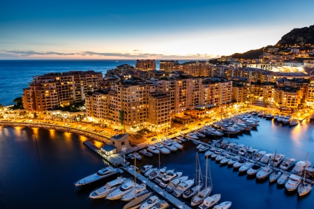 Aerial View on Fontvieille and Monaco Harbor with Luxury Yachts, French Riviera photo