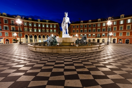 nice house: The Fontaine du Soleil on Place Massena in the Morning, Nice, French Riviera, France