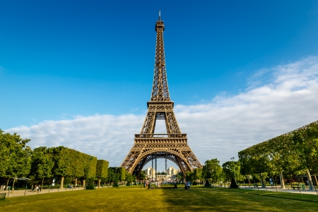 Eiffel Tower and Champ  de Mars in Paris, France Banco de Imagens