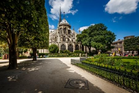 dame: Notre Dame de Paris Garden on Cite Island, Paris, France