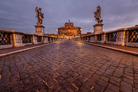 angelo: Castle of Holy Angel and Holy Angel Bridge over the Tiber River in Rome at Dawn, Italy