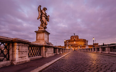 holy angel: Castle of Holy Angel and Holy Angel Bridge over the Tiber River in Rome at Dawn, Italy