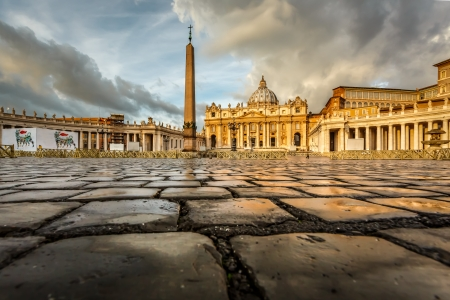 Saint Peter Square and Saint Peter Basilica in the Morning, Vatican City, Rome, Italy photo