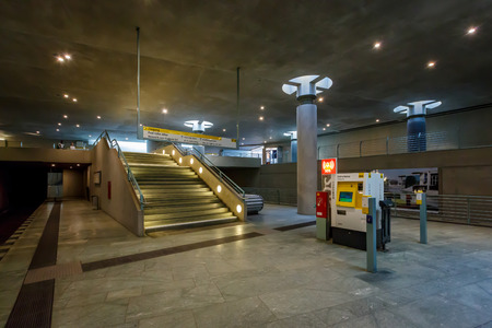 u bahn: BERLIN - AUGUST 24  Bundestag Subway Station  U-Bahn Station  on August 24, 2013 in Berlin, Germany  The Berlin U-Bahn was opened in 1902 and serves 170 stations spread across ten lines, with a total track length of 151 7 kilometres
