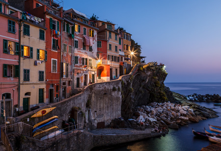 Village of Riomaggiore in Cinque Terre Illuminated at Night, Italy photo