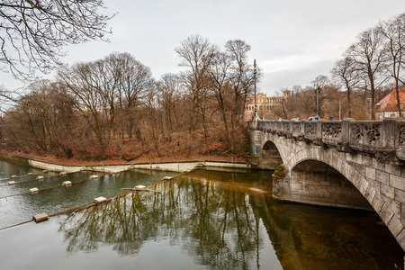 Maximilian Bridge over Isar River in Munich, Upper Bavaria, Germany photo