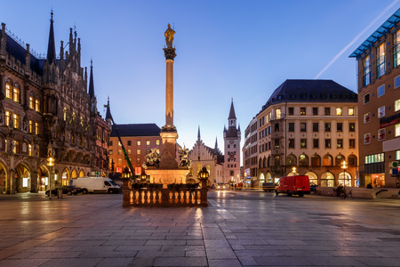 Old Town Hall and Marienplatz in the Morning, Munich, Bavaria, Germany Фото со стока