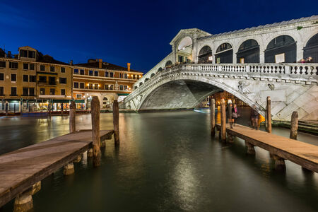 rialto bridge: Rialto Bridge and Grand Canal in the Evening, Venice, Italy