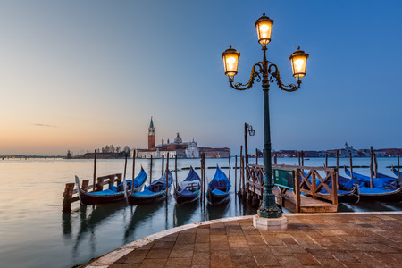 Grand Canal Embankment and San Giorgio Maggiore Church at Dawn, Venice, Italy Banco de Imagens