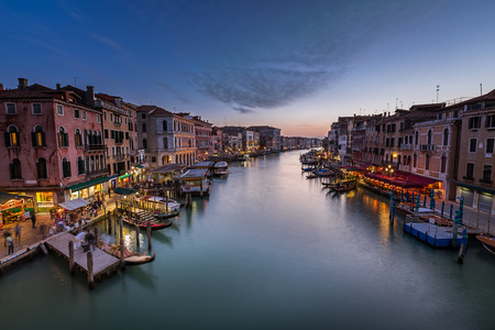 View on Grand Canal from Rialto Bridge, Venice, Italy photo