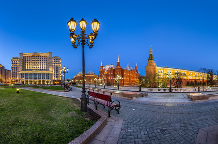 Manege Square and Moscow Kremlin in the Evening, Moscow, Russia photo