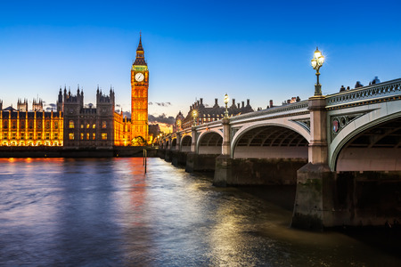 Big Ben, Queen Elizabeth Tower and Wesminster Bridge Illuminated in the Evening, London, United Kingdom