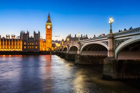 skyline city: Big Ben, Queen Elizabeth Tower and Wesminster Bridge Illuminated in the Evening, London, United Kingdom