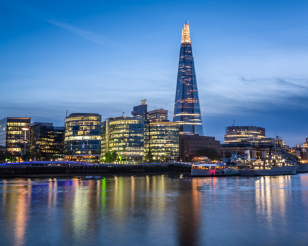 shard of glass: Thames River Embankment and London Skyline at Sunset, United Kingdom