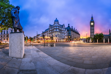 houses of parliament: Panorama of Parliament Square and Queen Elizabeth Tower in London, United Kingdom