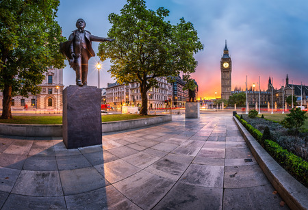 Panorama of Parliament Square and Queen Elizabeth Tower in London, United Kingdom photo