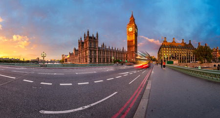 Panorama of Queen Elizabeth Clock Tower and Westminster Palace in the Morning, London, United Kingdom photo