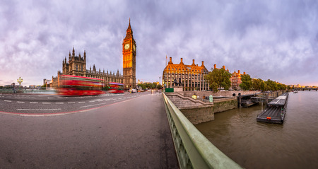 the palace of westminster: Panorama of Queen Elizabeth Clock Tower and Westminster Palace in the Morning, London, United Kingdom Stock Photo
