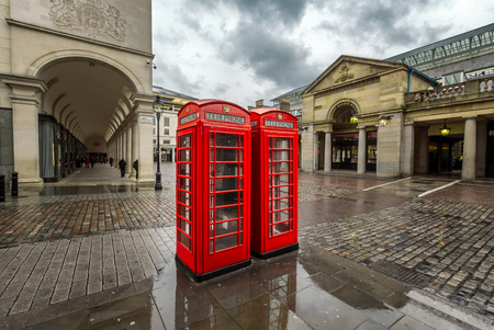covent garden market: Red Telephone Box at Covent Garden Market on Rainy Day, London, United Kingdom Stock Photo