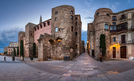 barcelona cathedral: Panorama of Ancient Roman Gate and Placa Nova in the Morning, Barri Gothic Quarter, Barcelona, Catalonia, Spain Stock Photo