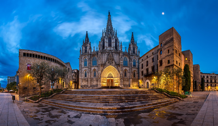 cathedrals: Panorama of Cathedral of the Holy Cross and Saint Eulalia in the Morning, Barri Gothic Quarter, Barcelona, Catalonia