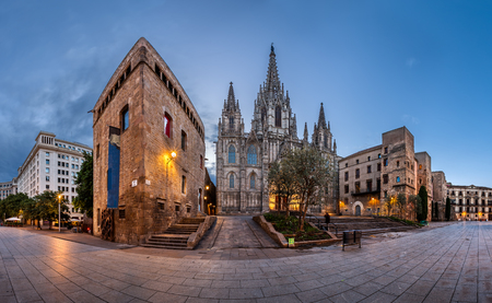barcelona cathedral: Panorama of Cathedral of the Holy Cross and Saint Eulalia in the Morning, Barri Gothic Quarter, Barcelona, Catalonia