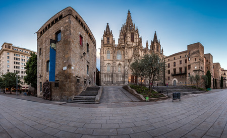 gothic church: Panorama of Cathedral of the Holy Cross and Saint Eulalia in the Morning, Barri Gothic Quarter, Barcelona, Catalonia