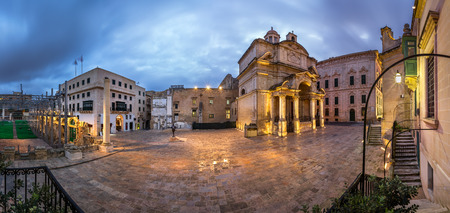 Panorama Saint Catherine of Italy Church and Jean Vallette Pjazza in the Morning, Vallette, Malta Stock Photo