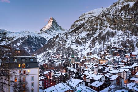 valais: Aerial View on Zermatt Valley and Matterhorn Peak at Dawn, Switzerland
