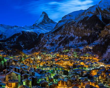 zermatt: Aerial View on Zermatt Valley and Matterhorn Peak at Dawn, Switzerland