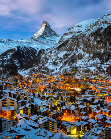 Aerial View on Zermatt Valley and Matterhorn Peak at Dawn, Switzerland