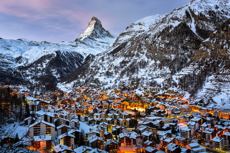 Aerial View on Zermatt Valley and Matterhorn Peak in the Morning, Switzerland Banco de Imagens