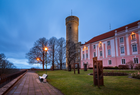 herman: Long Herman Tower and the Parliament Building in the Morning, Tallinn, Estonia