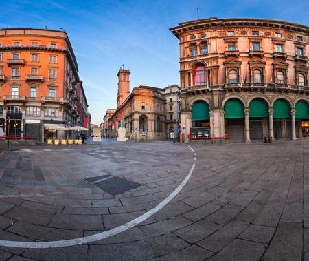 Piazza del Duomo and Via dei Mercanti in the Morning, Milan, Italy photo