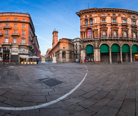 duomo: Piazza del Duomo and Via dei Mercanti in the Morning, Milan, Italy Stock Photo