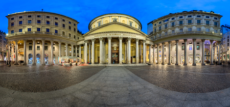 borromeo: Panorama of San Carlo Square and Church of Saint Charles Borromeo, Milan, Italy